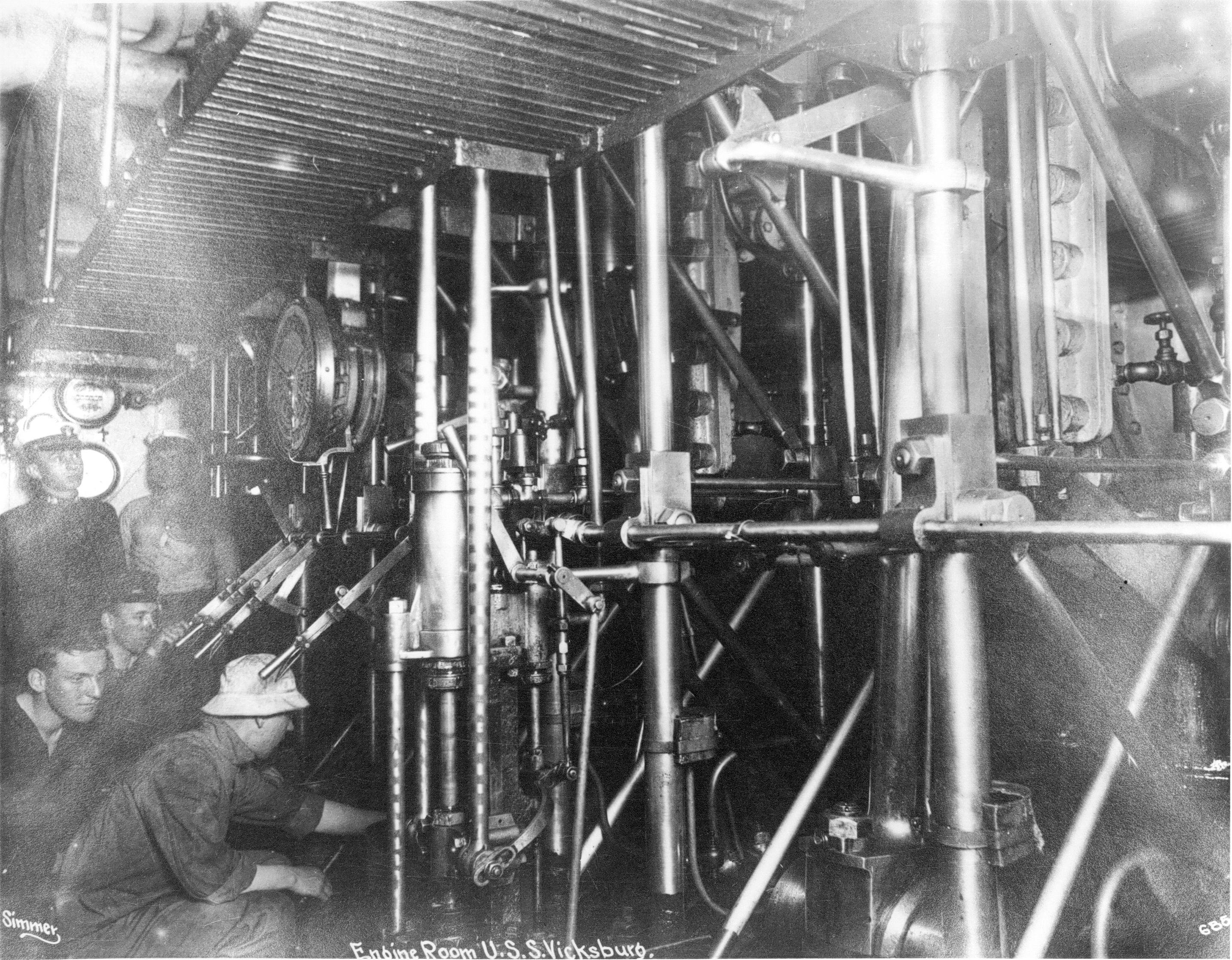 Engine Room, USS Vicksburg, 1915